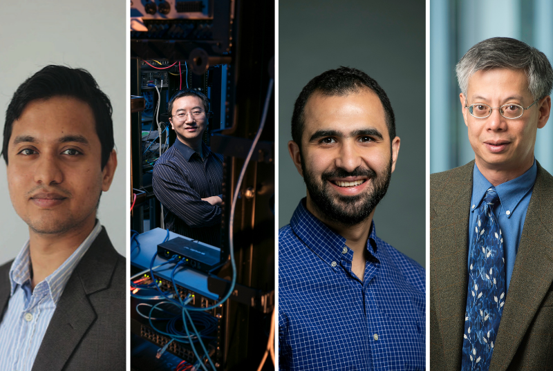 Collage of four professors, Sai, Kai, Khaled and Brian.